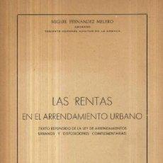 Libros de segunda mano: LAS RENTAS EN EL ARRENDAMIENTO URBANO (A/ DE- 130). Lote 3372585