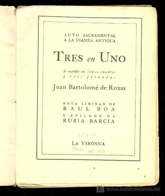 Libros de segunda mano: TRES EN UNO POR JUAN BARTOLOME DE ROXAS. EDITORIAL LA VERONICA, PRINTED IN CUBA 1940 - Foto 3 - 24723416