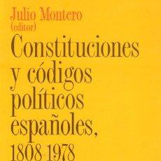 Livres d'occasion: CONSTITUCIONES Y CODIGOS POLITICOS ESPAÑOLES. 1808-1978. P-177. Lote 27753784