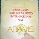 Libros de segunda mano: VADEMECUM AUTOMOVILÍSTICO INTERNACIONAL. Lote 27548256
