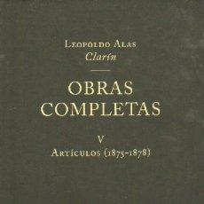 Libros de segunda mano: OBRAS COMPLETAS. TOMO V. ARTICULOS (1875-1878). L-650. Lote 12097702