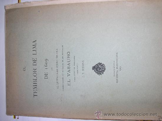 EL TEMBLOR DE LIMA DE 1609-EL VASAURO-1909 (Libros de Segunda Mano (posteriores a 1936) - Literatura - Otros)