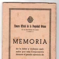 Libros de segunda mano: CAMARA OFICIAL DE LA PROPIEDAD URBANA. PROVINCIA DE CADIZ. MEMORIA. 1957. Lote 13109533