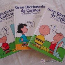 Libros de segunda mano: GRAN DICCIONARIO DE CARLITOS - ESPAÑOL-INGLES (CHARLIE BROWN) - 3 VOL. GRIJALBO - BARCELONA.. Lote 109571511