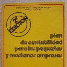 Libros de segunda mano: PLAN DE CONTABILIDAD PARA LAS PEQUEÑAS Y MEDIANAS EMPRESAS - SERVICIO DE ESTUDIOS.. Lote 23063460