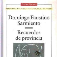 Livros em segunda mão: RECUERDOS DE PROVINCIA - DOMINGO FAUSTINO SARMIENTO **. Lote 15051340