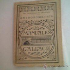 Libros de segunda mano: ANTROPOMETRÍA. TELESFORO DE ARANZADI. Lote 15484435