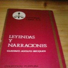 Libros de segunda mano: LEYENDAS Y NARRACIONES DE GUSTAVO ADOLFO BECQUER (1970). Lote 27089676