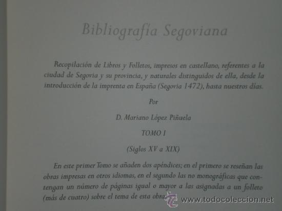Libros de segunda mano: BIBLIOGRAFÍA SEGOVIANA. TOMO I (SIGLOS XV A XIX) - Foto 2 - 26456017