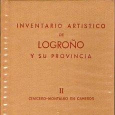 Libros de segunda mano: INVENTARIO ARTÍSTICO DE LOGROÑO Y SU PROVINCIA. 2 TOMOS. 1975. Lote 27356256