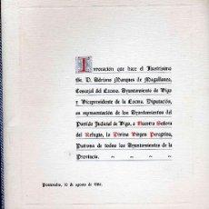 Libros de segunda mano: INVOCACION QUE HACE EL ILUSTRISIMO SR. D. ADRIANO MARQUES DE MAGALLANES, CONCEJAL DEL EXCMO . Lote 21795309