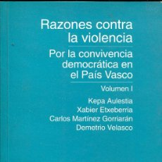 Libros de segunda mano: RAZONES CONTRA LA VIOLENCIA.. Lote 27485023