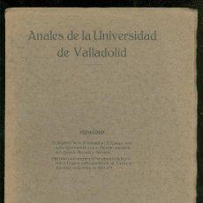 Libros de segunda mano: ANALES DE LA UNIVERSIDAD DE VALLADOLID. ABRIL JUNIO 1933.. Lote 23033757