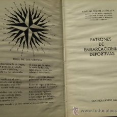 Libros de segunda mano: PATRONES DE EMBARCACIONES DEPORTIVAS. SIMÓN QUINTANA, JOSÉ DE. 1977. Lote 27630155