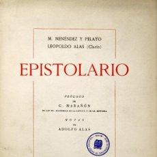 Libros de segunda mano: MARCELINO MENÉNDEZ PELAYO Y LEOPOLDO ALAS (CLARÍN). EPISTOLARIO. PRÓLOGO DE MARAÑÓN. MADRID, 1943.. Lote 28493459