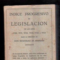 Libros de segunda mano: INDICE PROGRESIVO DE LEGISLACION DE LOS AÑOS 1930 HASTA 1935 POR ESTANISLAO DE ARANZADI. PAMPLONA. Lote 29398314