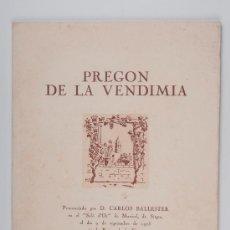 Libros de segunda mano: CATÁLOGO - PROGRAMA OFICIAL, PREGON DE LA VENDIMIA - FIESTAS DE LA VENDIMIA, SITGES 1973. Lote 30069455