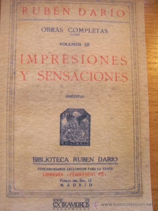RUBÉN DARÍO - IMPRESIONES Y SENSACIONES (Libros de Segunda Mano (posteriores a 1936) - Literatura - Otros)