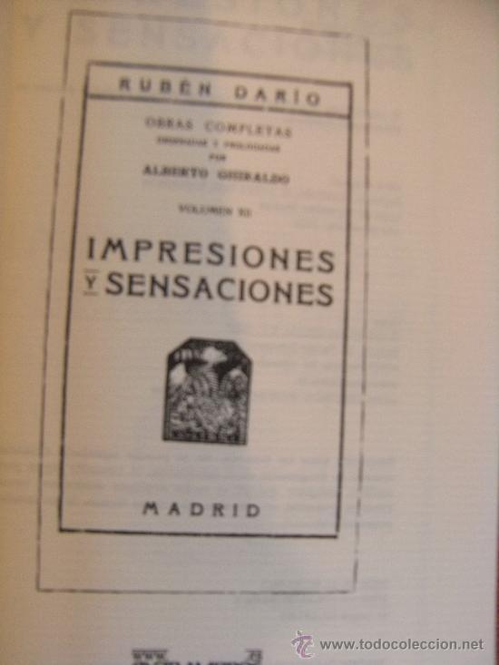 Libros de segunda mano: RUBÉN DARÍO - IMPRESIONES Y SENSACIONES - Foto 3 - 31284722
