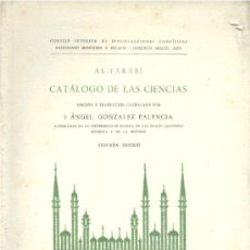 Libros de segunda mano - CATÁLOGO DE LAS CIENCIAS - AL FARABI (TRAD. A. GONZÁLEZ PALENCIA). 1953. NUEVO. - 31349178