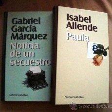 Libros de segunda mano: 2 LIBROS, PAULA DE ISABEL ALLENDE-NOTICIA DE GABRIEL GARCÍA MÁRQUEZ NUEVA NARRATIVA. Lote 32131457