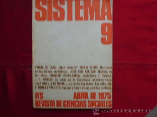 LIBRO SISTEMA Nº 9, ABRIL DE 1975 REVISTA DE CIENCIAS SOCIALES L-944 (Libros de Segunda Mano - Ciencias, Manuales y Oficios - Otros)