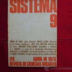Libros de segunda mano: LIBRO SISTEMA Nº 9, ABRIL DE 1975 REVISTA DE CIENCIAS SOCIALES L-944. Lote 32449106