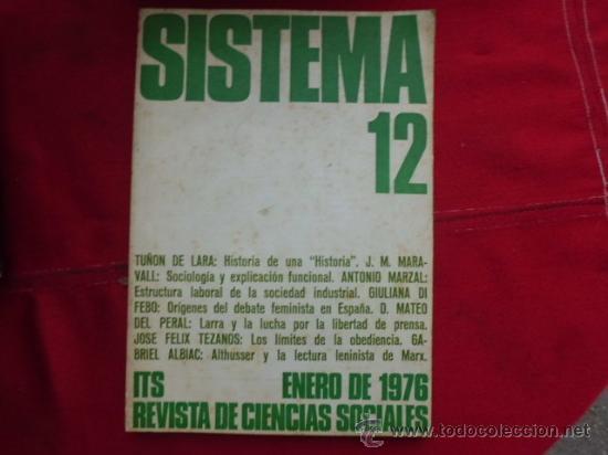LIBRO SISTEMA Nº 12 ENERO 1976 REVISTA DE CIENCIAS SOCIALES L-949 (Libros de Segunda Mano - Ciencias, Manuales y Oficios - Otros)