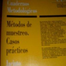 Libros de segunda mano: CUADERNOS METODOLOGICOS. METODOS DE MUESTREO CASOS PRACTICOS. JACINTO RODRIGUEZ OSUNA. CIS. Lote 32586239