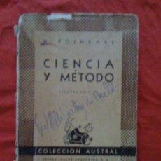 Libros de segunda mano: CIENCIA Y MÉTODO, DE H. POINCARÉ. ESPASA CALPE (AUSTRAL 409), 1960. Lote 33316677