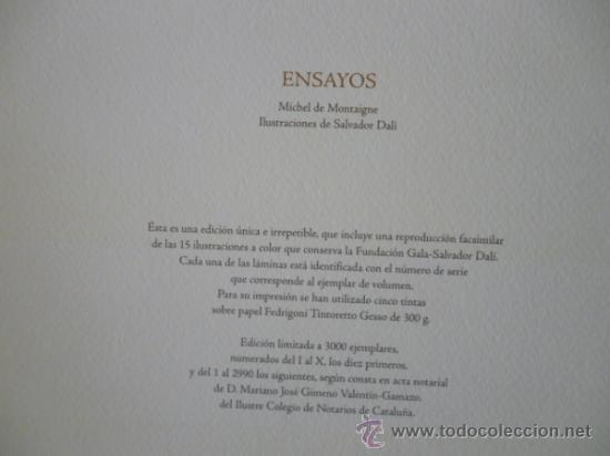 Libros de segunda mano: ENSAYOS DE MICHEL DE MONTAIGNE CON LAMINAS DE SALVADOR DALI. EDICIÓN LIMITADA - Foto 16 - 34467319