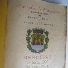 Libros de segunda mano: NATURALES DE ORTIGUEIRA ASOCIACION DE BENEFICENCIA Y PROTECCIÓN MUTUAS MEMORIAS 1928-1964. Lote 36943691