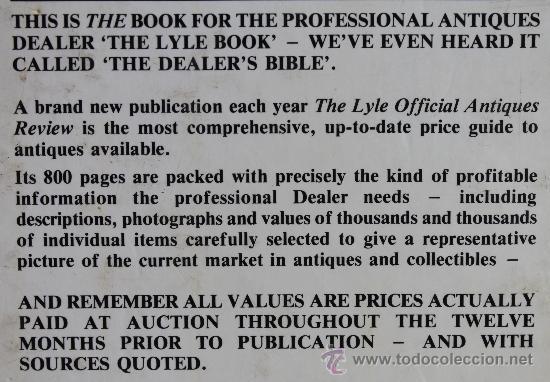 Libros de segunda mano: THE LYLE OFFICIAL ANTIQUES REVIEW 1988 – TONY CURTIS –LA MAS AMPLIA GUIA PRECIOS PARA COLECCIONISTAS - Foto 6 - 37209882