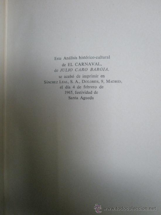 Libros de segunda mano: Caro Baroja, J.: El Carnaval. (Análisis Histórico-Cultural). (1965) - Foto 9 - 37614731
