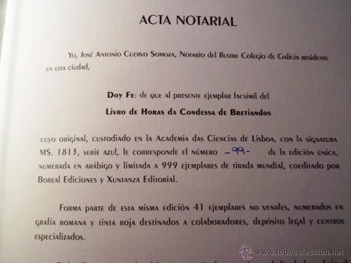 Libros de segunda mano: LIVRO DE HORAS DA CONDESSA DE BRETIANDOS. FACSÍMIL. NUMERADO Y ACTA NOTARIAL. - Foto 8 - 39549453