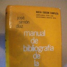 Libros de segunda mano: MANUAL DE BIBLIOGRAFIA DE LA LITERATURA ESPAÑOLA. JOSE SIMON DIAZ.. Lote 39714576
