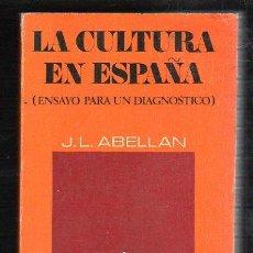Libros de segunda mano: LA CULTURA EN ESPAÑA POR J.L ABELLAN. EDITORIAL CUADERNOS PARA EL DIALOGO. 1971. Lote 40046357