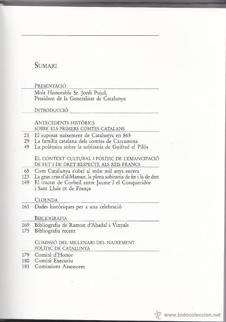 Libros de segunda mano: CATALUNYA FA MIL ANYS - NOTES HISTÒRIQUES - 1988 - COL·LECCIÓ TEXTOS I DOCUMENTS 3 - Foto 2 - 40679727