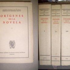 Libros de segunda mano: MENÉNDEZ PELAYO, MARCELINO. ORÍGENES DE LA NOVELA. Lote 40837272