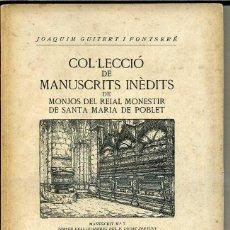 Libros de segunda mano: MANUSCRITS INÈDITS DE POBLET Nº7 - ABADIOLOGI (1949). Lote 41045490