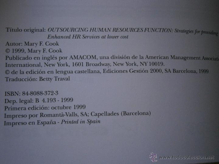 Libros de segunda mano: EXTERNALIZACION DE LAS FUNCIONES DE RECURSOS HUMANOS Mary Cook Edipe 1 edicion 1999 - Foto 5 - 43402102