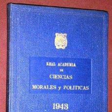 Libros de segunda mano: ANUARIO DE LA REAL ACADEMIA DE CIENCIAS MORALES Y POLÍTICAS EN MADRID 1943. Lote 43608755