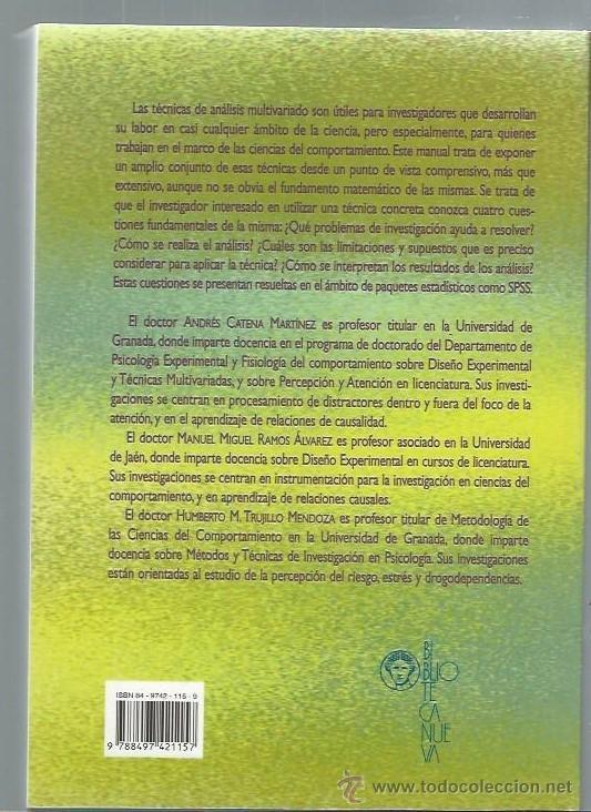 Libros de segunda mano: ANÁLISIS MULTIVARIADO UN MANUAL PARA INVESTIGADORES, BIBLIOTECA NUEVA MADRID 2003 - Foto 3 - 43844855