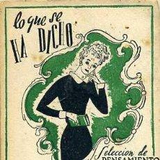 Libros de segunda mano: LO QUE SE HA DICHO DE LAS VIUDAS (TARTESSOS, C. 1945) MINIATURA 7,5X9,5. Lote 44056164