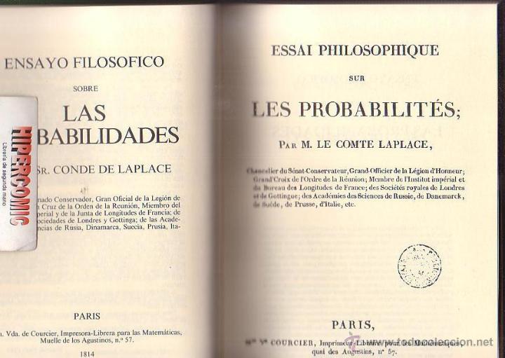 Libros de segunda mano: ENSAYO FILOSOFICO SOBRE LAS PROBABILIDADES , edicion facsímil 1814 ,EDITA : INTEMAC, S.A. - Foto 2 - 36682727