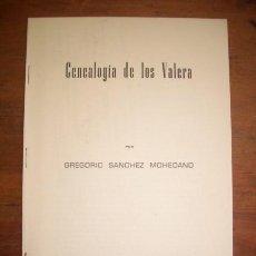 Libros de segunda mano: SÁNCHEZ MOHEDANO, GREGORIO. GENEALOGÍA DE LOS VALERA : ESTUDIOS SOBRE LA GENEALOGÍA CORDOBESA DE.... Lote 235790010