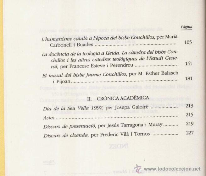 Libros de segunda mano: EL BISBE JAUME CONCHILLOS, LHUMANISME A CATALUNYA, A CURA DE XIMO COMPANY (1993) - Foto 3 - 45076675