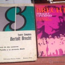 Libros de segunda mano: BERTOLT BRECHT POEMAS Y CANCIONES Y TEATRO COMPLETO. Lote 45396373