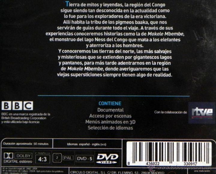 DVD LOS ESPÍRITUS LA SELVA DOCUMENTAL BBC ÁFRICA VIAJE MISTERIO MOKELE  MBEMBE NESS DE CONGO NO LIBRO