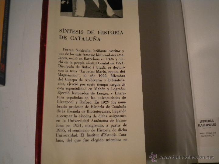 Libros de segunda mano: SÍNTESIS DE HISTORIA DE CATALUÑA - FERRAN SOLDEVILA - Foto 2 - 46175809